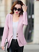 Для женщин На каждый день Весна Кожаные куртки V-образный вырез,просто Однотонный Короткие Длинный рукав,Полиуретановая