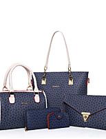 Women Bag Sets PU All Seasons Formal Sports Casual Office & Career Shell Zipper Brown Blushing Pink White Blue
