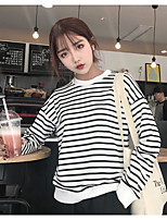 Women's Casual/Daily Sweatshirt Striped Crew Neck Inelastic Cotton Long Sleeve Spring