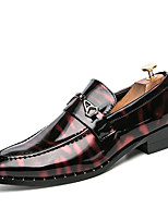Men's Oxfords Comfort Patent Leather Spring Summer Wedding Office & Career Party & Evening  Flat HeelBlack/Blue Black/Red Walking Shoes