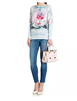 European and American big abstract print chiffon splicing bat sleeve long-sleeved sweater hedging color new spring