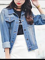 Women's Casual/Daily Simple Fall Denim Jacket,Solid Shirt Collar Long Sleeve Regular Cotton