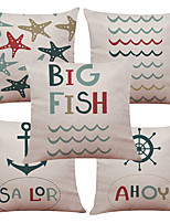 Set of 5 Marine Animals Pattern  Linen Pillowcase Sofa Home Decor Cushion Cover (18*18inch)
