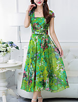 Women's Plus Size Going out Boho Chiffon Swing Dress,Print Square Neck Maxi Short Sleeve Polyester Summer Mid Rise Micro-elastic Medium