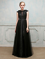Formal Evening Dress - Elegant Ball Gown Jewel Floor-length Lace Satin Tulle with