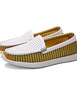 Для мужчин Мокасины и Свитер Удобная обувь Кожа Лето Повседневный На плоской подошве Серый Желтый Синий 2,5 - 4,5 см