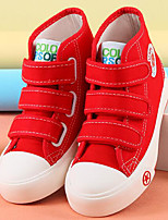 Girls' Sneakers Comfort Canvas Spring Fall Outdoor Casual Walking Magic Tape Low Heel Red Black White Flat