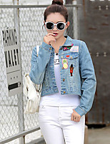 Women's Other Daily Casual Simple Street chic Spring Denim Jacket,Solid Print Stand Long Sleeve Short Cotton
