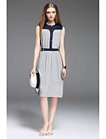 CELINEIA Women's Daily Simple Sheath DressSolid Round Neck Knee-length Sleeveless Silk Summer Low Rise Micro-elastic Medium