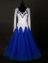 Ballroom Dance Dresses Women's Spandex Applique Paillettes Splicing 1 Piece Long Sleeve High Dresses