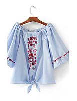 T-shirt Da donna Sensuale Semplice Moda città Estate,Ricamato A barca Cotone Mezze maniche Sottile Medio spessore