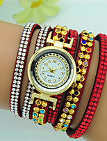 Women's Bracelet Watch Quartz Rhinestone Leather Band Bohemian Bracelet Watch