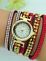 Femme Bracelet de Montre Quartz Strass Cuir Bande Bohème Noir Blanc Rouge Marron Bleu marine Rouge Rose