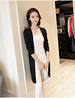 Women's Daily Casual Simple Cute Regular Cardigan,Solid V Neck Long Sleeve Others Spring Thin Micro-elastic