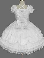 Une Pièce/Robes Doux Lolita Cosplay Vêtrements Lolita Rétro Mancheron Manches Courtes Court / Mini Robe Pour Mélange de Coton