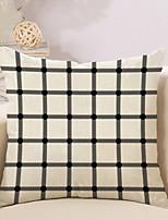 1 Pcs Simple Grid Shape Printing Pillow Case Cotton/Linen Pillow Cover 45*45Cm Cushion Cover