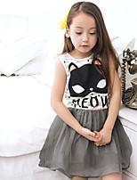 Girl's Cartoon Dress,Cotton Polester/Cotton Blend Summer Sleeveless