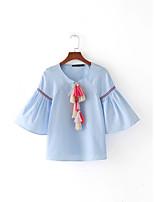 T-shirt Da donna Per uscire Casual Sensuale Semplice Moda città Estate,Tinta unita A V Cotone Sottile Medio spessore