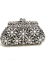 Women Handmade A Grade Rhinestone Clutch And Evening Bags in Black and White