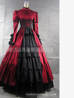 One-Piece/Dress Gothic Lolita Elegant Cosplay Lolita Dress Black Red Solid Color Floor-length Skirt Dress For Padded Fabric Cotton Fabric
