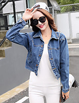 Women's Casual/Daily Vintage Spring Summer Denim Jacket,Solid Shirt Collar Long Sleeve Short Polyester