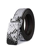 Mens Snake Skin Print Belt Ratchet Automatic Buckle Belts