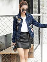 Women's Casual/Daily Simple Summer Denim Jacket,Print Shirt Collar Long Sleeve Short Linen