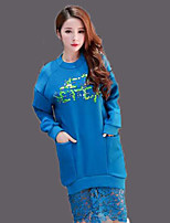 Women's Casual/Daily Sweatshirt Letter Round Neck Micro-elastic Cotton Long Sleeve Fall Winter