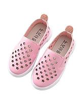 Girls' Flats Comfort PU Leatherette Spring Fall Outdoor Casual Walking Magic Tape Low Heel Blushing Pink Black White Flat