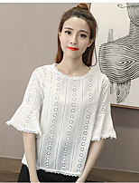 Women's Casual/Daily Simple Summer Shirt,Geometric Round Neck Short Sleeve Bamboo Fiber Thin
