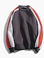 Men's Daily Sweatshirt Color Block Round Neck Micro-elastic Cotton Long Sleeve Spring