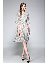 Gaine Balançoire Robe Femme Sortie Vacances Vintage simple Chic de Rue,Fleur Col Arrondi Mi-long ½ Manches Polyester Printemps EtéTaille