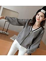 Women's Casual/Daily Cute Regular Cardigan,Solid V Neck Long Sleeve Acrylic Fall Medium Micro-elastic