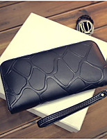 Women Coin Purse PU All Seasons Round Zipper Black Silver