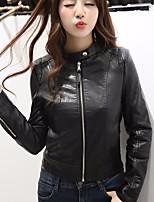 Для женщин На выход Весна Кожаные куртки Круглый вырез,просто Однотонный Короткие Длинный рукав,Others