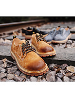 Для мужчин Туфли на шнуровке Удобная обувь Замша Весна Повседневные Удобная обувь Черный Серый Хаки На плоской подошве