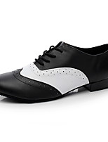 Не персонализируемая Для мужчин Латина Кожа На каблуках Для закрытой площадки На низком каблуке Черный Менее 2,5 см