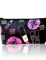 Women Cosmetic Bag PU All Seasons Baguette Zipper Black