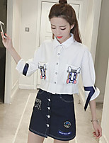 Women's Casual/Daily Simple Summer Shirt Skirt Suits,Solid Shirt Collar 1/2 Length Sleeve Micro-elastic