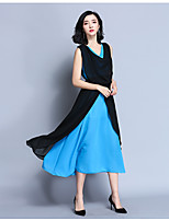 Women's Sexy Cute A Line Dress,Solid Patchwork V Neck Midi Asymmetrical Sleeveless Polyester Spring Summer High Rise Inelastic Medium