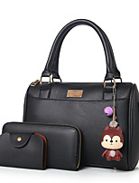 Women Bag Sets PU All Seasons Formal Casual Office & Career Barrel Zipper Purple Gray Blushing Pink Black