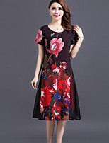 Women's Plus Size Going out Street chic Loose Dress,Floral Round Neck Midi Short Sleeve Polyester Spring Summer Mid Rise Micro-elastic