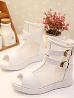 Девочки Сандалии Обувь для малышей Полиуретан Весна Лето Повседневные Для прогулок Обувь для малышей На липучках На низком каблукеБелый