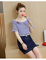 Women's Work Simple Spring T-shirt Skirt Suits,Striped Deep V Short Sleeve