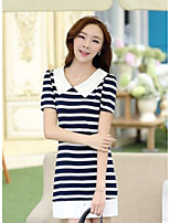 Women's Going out Beach Cute Loose Dress,Striped Strapless Mini Short Sleeve Cotton Spring Summer Low Rise Micro-elastic Thin