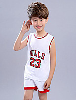 Boys' Print Patchwork Sets,Polyester Summer Sleeveless Clothing Set