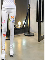Women's Medium Solid Color Legging,Embroidery