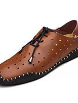 Da uomo Sneakers Comoda PU (Poliuretano) Primavera Autunno Casual Comoda Lacci Piatto Nero Marrone chiaro Marrone scuro Piatto
