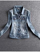 Women's Casual/Daily Simple Summer Denim Jacket,Solid Shirt Collar Long Sleeve Regular Linen