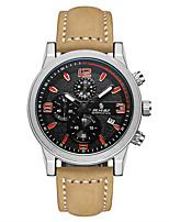 Homens Relógio Esportivo Relógio de Moda Chinês Quartzo Calendário Noctilucente Couro Legitimo Banda Cáqui